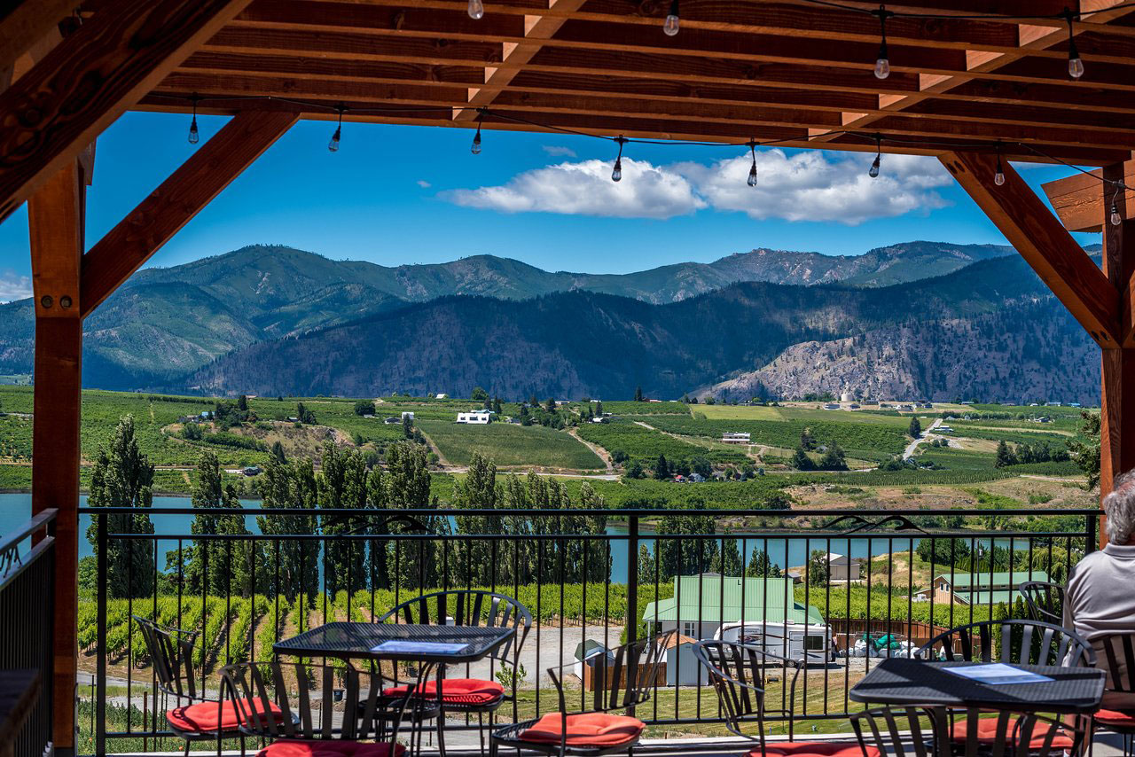 Tipsy Canyon tasting room deck view of Chelan Valley